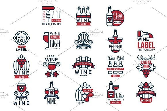 Red Wine Vintage Labels Set Collection Of Abstract Grape Wine Emblems Vector Illustrations