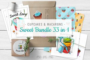 Cupcakes and Macarons Sweet Bundle
