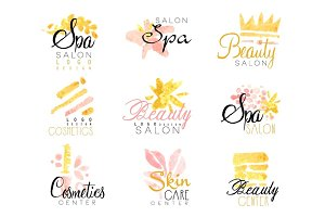 SPA healthy beauty studio set for label design. Health and beauty care, colorful watercolor vector Illustrations