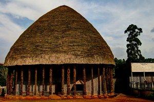 View to Chiefdom headquarters aka Chefferie, the Main Symbol of Bandjoun, Cameroon