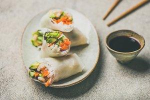 Shrimp and vegetable spring rolls