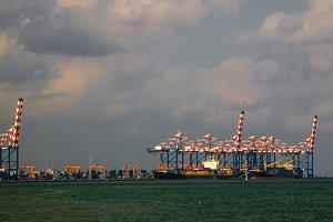 Panorama of Djibouti port , ships an