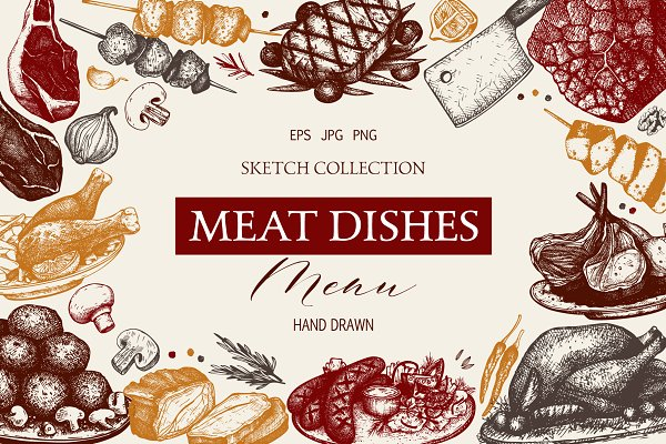 Vector Meat Dishes Collection