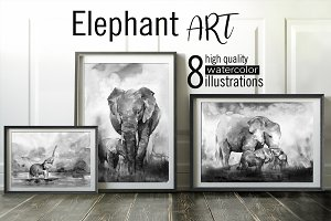 Elephant ART. 8 watercolor paintings