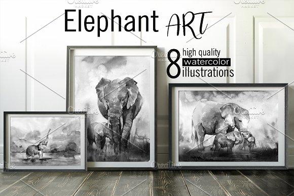 Elephant ART. 8 watercolor paintings