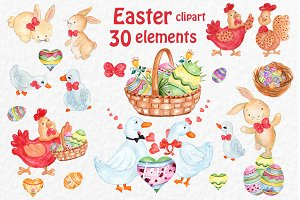 Watercolor Easter clipart