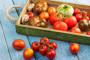 Set of different ripe tomatoes