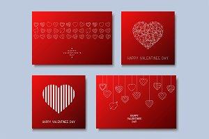 Hand drawn Valentine's love cards