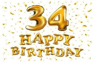 happy birthday 34 gold balloon
