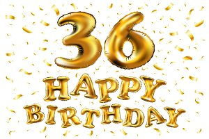 happy birthday 36 golden balloon
