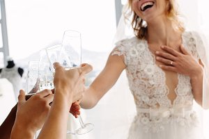Bride with friends drinking