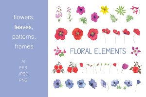 Set of floral elements and patterns.