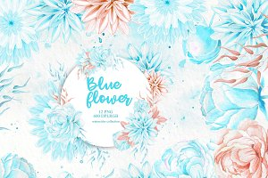 Watercolor Clipart, Blue Flower