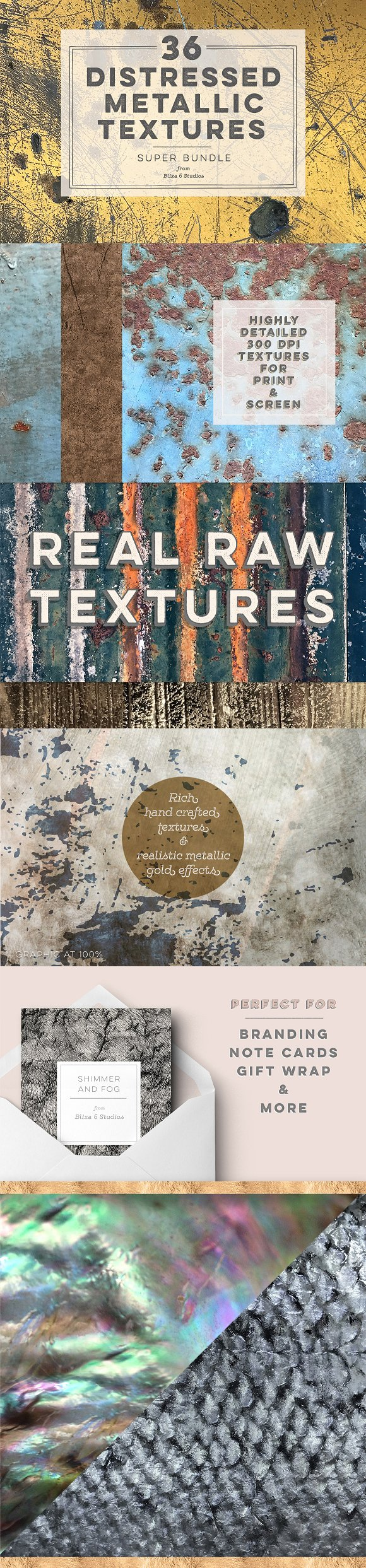 36 Distressed Metallic Textures