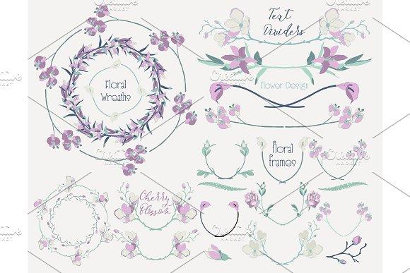 Colorful Floral Design Elements, Dividers, Frames