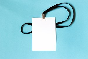 White blank paper badge mockup