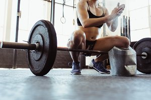 Weightlifter preparing for training