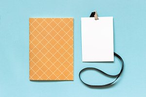 White blank paper badge mockup with