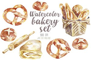 Watercolor bakery set