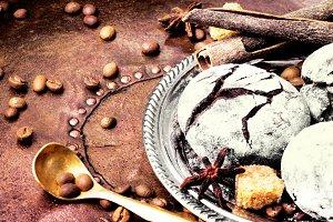 Chocolate cookies on dark retro tabl
