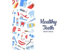 Vector flat style teeth hygiene background