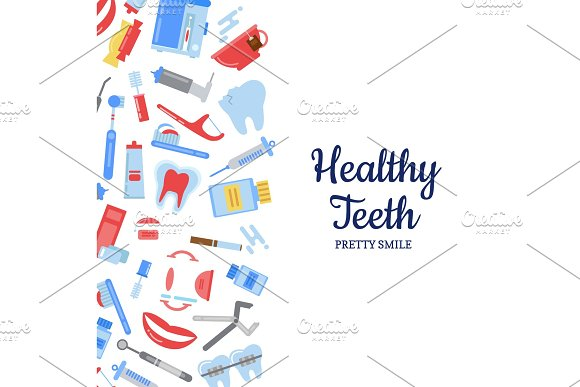 Vector flat style teeth hygiene background in Graphics