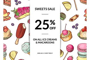 Vector hand drawn sweets sale background template