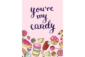 Vector hand drawn sweets card or poster