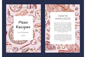 Vector card or brochure template for pizza restaurant