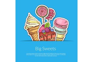 Vector hand drawn sweets in pocket illustration
