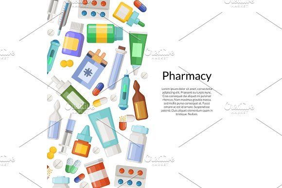 Vector medicines, pills and potions background