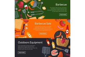 Vector horizontal banner templates for barbecue or grill cooking