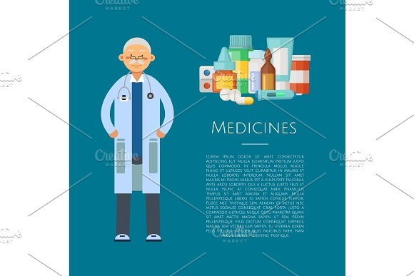 Vector illustration with medical doctor character and pile of medicines