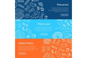 Vector contoured hand drawn pasta horizontal banner templates