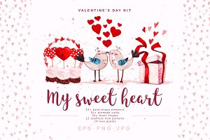 valentine cliparts, EPS+PNG