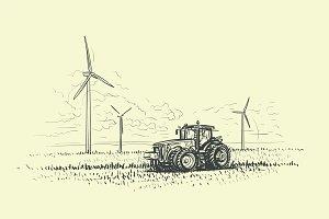 Agricultural Landscape Drawing.