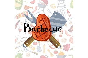 Fried meat, knive and fork with lettering on barbecue or grill elements background