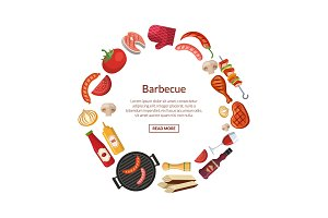 Vector illustration with barbecue, grill or steak cooking