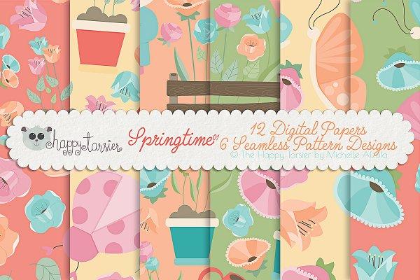 Springtime 01 Seamless Patterns