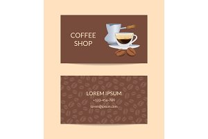 Vector coffee shop or company business card template