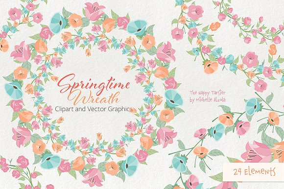 Springtime 01 Wreath Clipart Vector