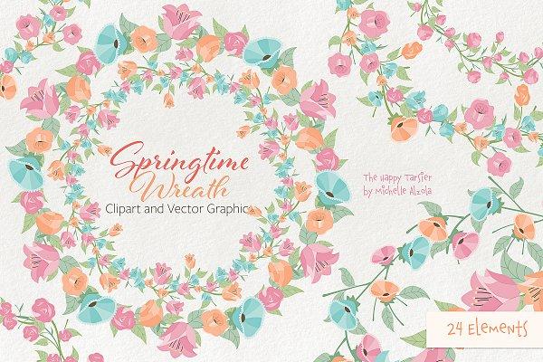 Springtime 01 Wreath Clipart Vector