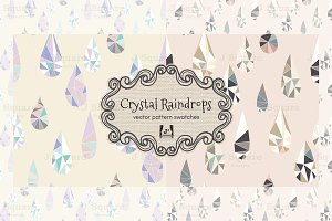 Crystal Raindrop Vector Swatches