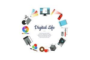 Vector digital art design icons circle concept