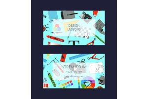 Vector digital art design studio business card template with