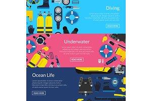 Vector underwater diving horizontal banner templates