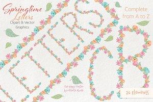 Springtime 01 Letters Clipart Vector