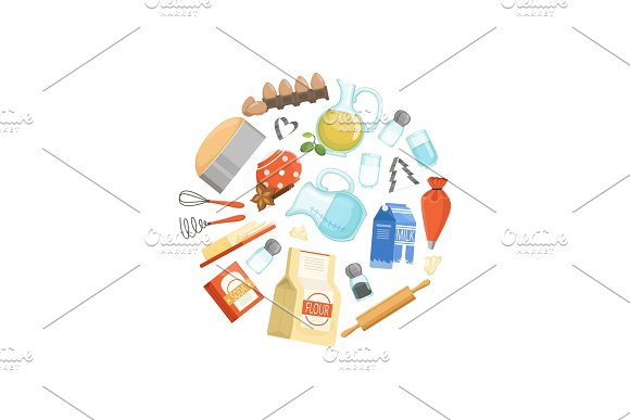 Vector Cooking Ingridients Or Groceries Circle Concept Illustration