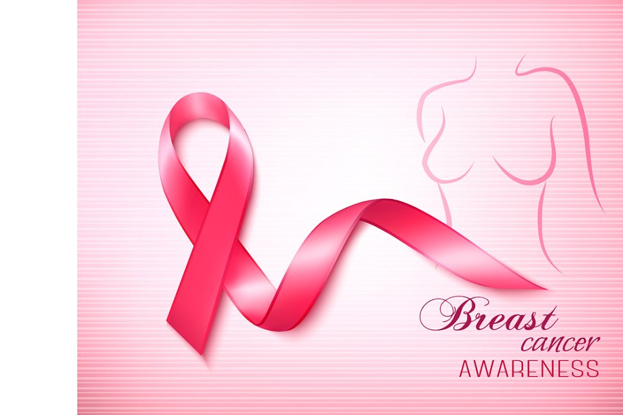 Breast cancer pink background in Illustrations