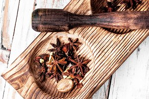 aromatic spices anise and cinnamon